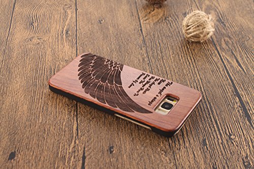 Funda Madera para Samsung Galaxy S8, Vandot Manual Natural Wood Bamboo Contraportada de Madera + PC Bumper Shell Tallado Funda Protectora para Samsung Galaxy S8 SM-G9500, Diseño de Ancla Anchor, Natur Mu+PC 02