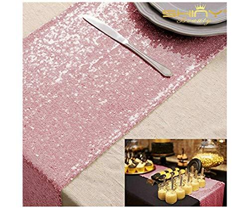 12*72 Fushia Pink Sequin Table Runner Sparkly Metallic Sequin Runner for Wedding Party Dinner Reception, Event Bridalwedding Runner(Fushia Pink #53)