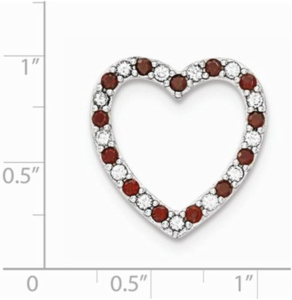 FB Jewels Solid 925 Sterling Silver Rhodium-Plated Garnet and Cubic Zirconia CZ Heart Pendant