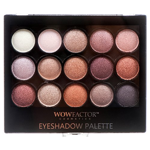 Nice Wow Factor Cosmetics Eyeshadow Palette - 15 Colors Neutral Warm Shimmer Pigmented Long Lasting (Matte)