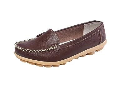 Wicky LS Damen Work Comfort Leder Mokassins Loafer Wohnungen Erbsen Schuhe  Style1 Braun 35