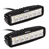 KAWELL 2 Pack 18W LED Flood Work Light Off Road Led Light Bar Fog Driving Lamp for Jeep Truck SUV ATV Motorcycle Black