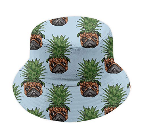 (Great Gift - Unisex 100% Polyester Wide Brim Pineapple Pug Bucket Hat UPF 50+ Sun Protection Packable Fisherman Hat Summer Beach Cap for Travel Golf Fishing Camping)