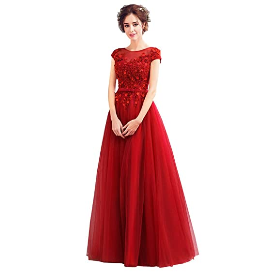 Bride Dress Wedding Gown Red Lace Pearl Embroidery Around Neck Floor ...