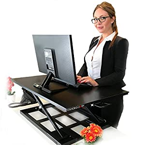 "Standing Sit and Stand Up Desk - Easy Height Adjustable Table Jack Desk Converter with Huge 32"" x 22"" Instantly Convert any Variable Portable Computer Monitors for Work Home by Elevating in Seconds"