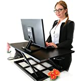 Standing Sit and Stand Up Desk - Easy Height Adjustable Table Jack Desk Converter with Huge 32 x 22 Instantly Convert any Variable Portable Computer Monitors for Work Home by Elevating in Seconds