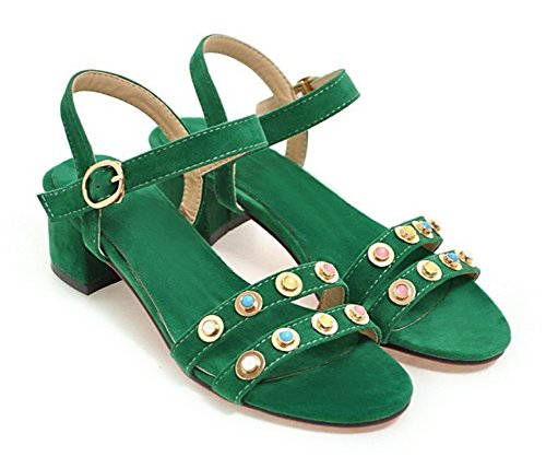 Aisun Womens Unique Studded Open Toe Dress Chunky Low Heels Sandals Shoes With Ankle Straps Green BmM6WaD