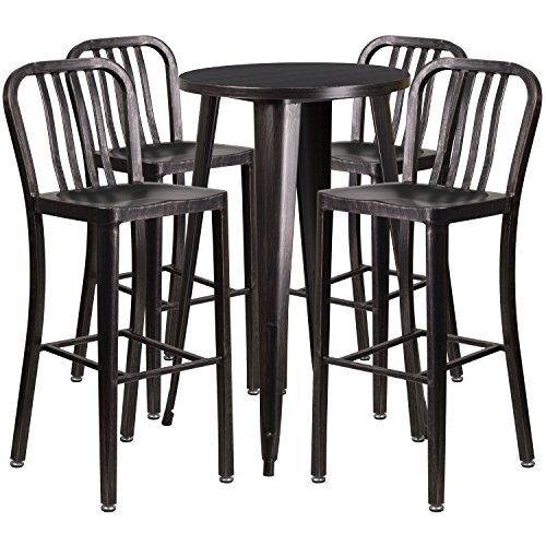 Flash Furniture 24'' Round Black-Antique Gold Metal Indoor-Outdoor Bar Table Set with 4 Vertical Slat Back Stools - 24' Round Bistro Table