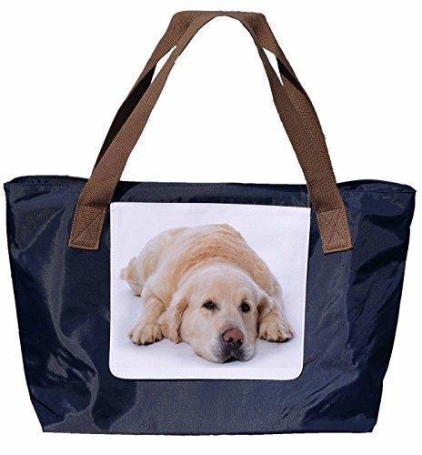 Shopper /Schultertasche / Einkaufstasche / Tragetasche / Umhängetasche aus Nylon in Navyblau - Größe 43x33cm - Motiv: Golden Retriever Porträt - 01