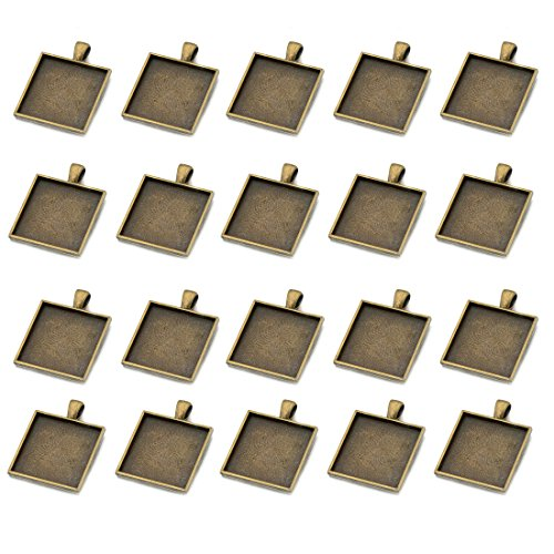 IGOGO 20 PCS Square Pendant Trays Pendant Blanks Cameo Bezel Cabochon Settings 25x25 mm Antique Bronze Color (25 Mm Square Bezel)