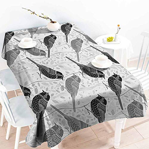 familytaste Grey,Multifunctional Table Cover Floral Flower Buds Leaves Pattern English Country Style Victorian Lace Image Print 60