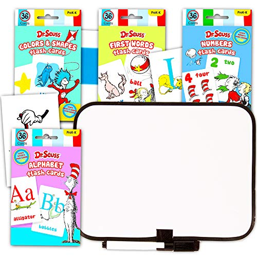 Dr. Seuss Flash Cards Super Set Toddler Kids -- 144 Flashcards (4 Packs) with Dry Erase Board (Dr. Seuss ABC Flash Cards, Numbers Flash Cards, Colors and Shapes, Match and Go Fish!)