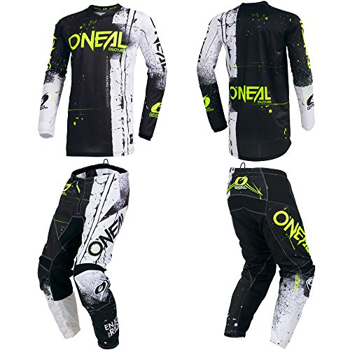 O'Neal Element Shred Black Adult motocross MX off-road dirt bike Jersey Pants combo riding gear set (Pants W32 / Jersey Medium) ()