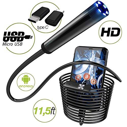 Endoscope - Borescope - Endoscope Android- USB Endoscope Borescope - micro USB - USB C Inspection Camera - Waterproof LED Automotive Vehicle Bore Drain Digital HD Semi-rigid OTG Android with Case by Harch
