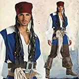 Disguise Men's Disney Pirates Of The Caribbean Captain Jack Sparrow Classic Costume, Brown/Blue White, X-Large