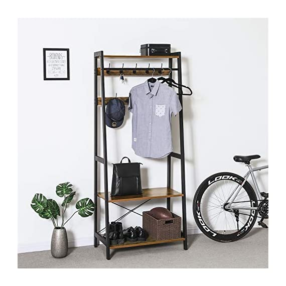 VASAGLE Industrial Coat Rack 2-Tiers, Clothing Garment Rack, Storage Shelf with 9 Heavy Duty Hooks, for Living Room Bedroom ULGR13BX - FIRST IMPRESSIONS MATTER: Bring your guests to your home with a cheerful Welcome! Take off their coat and hang it on your new coat rack in the hallway; the exciting mix of vintage and industrial design styles will certainly appeals your visitors EVERYTHING UNDER ONE ROOF: This coat rack integrates a clothes rack, shoe rack and storage rack all in one unit; coat, boots, bag and keys are always at hand with easy access BUILT TO LAST: The combination of a sturdy metal frame and high-strength chipboard ensures a high stability of the coat rack even when loaded with heavy winter jackets; anti-tip kit for extra support - hall-trees, entryway-furniture-decor, entryway-laundry-room - 51EiiIhVUxL. SS570  -