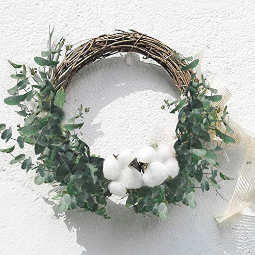 DomeStar 7PCS Cotton Stems with 2PCS Artificial Greenery Stems Greenery Bushes Farmhouse Cottons for Home Party Wedding Decorations