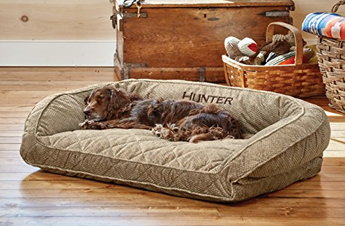 Orvis Comfortfill Bolster Dog Bed Medium Dogs Up To 18-27 Kg, Brown Tweed,