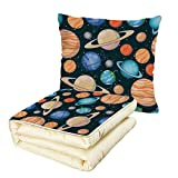 Quilt Dual-Use Pillow Galaxy Cute Galaxy Space Art Solar System Planets Mars Mercury Uranus Jupiter Venus Kids Print Multifunctional Air-Conditioning Quilt Multi