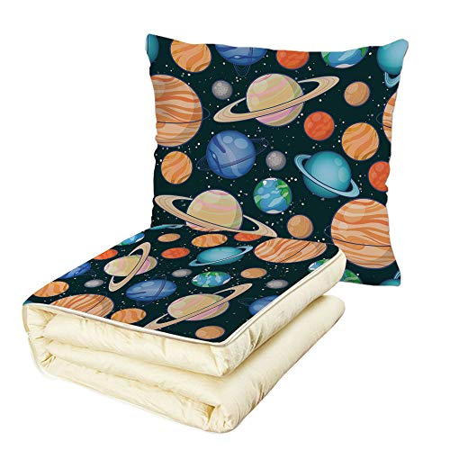 Quilt Dual-Use Pillow Galaxy Cute Galaxy Space Art Solar System Planets Mars Mercury Uranus Jupiter Venus Kids Print Multifunctional Air-Conditioning Quilt Multi by iPrint