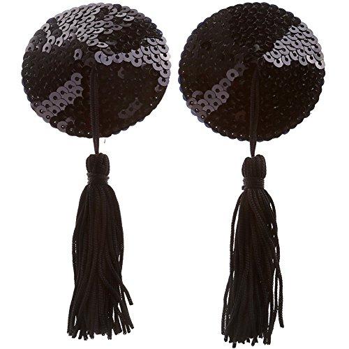 (Ayliss Sequin Lingerie Tassel Breast Bra Stickers Nipple Covers-Black)