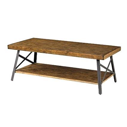 Raw Wood Coffee Table Rustic Aged Design Modern X Steel Industrial Legs  Rectangle Rack Storage Decorative