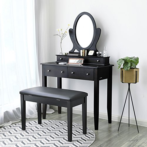 SONGMICS Wooden Duet Piano Bench with Padded Cushion and Music Storage Black ULPB75BK by SONGMICS (Image #2)