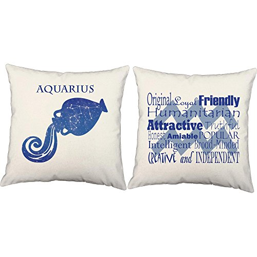 Set of 2 RoomCraft Aquarius Throw Pillows - 14x14 White Zodiac Sign Shams with (Aquarius Bath)