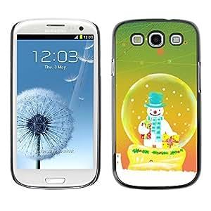 YOYO Slim PC / Aluminium Case Cover Armor Shell Portection //Christmas Holiday Snowman In Snowglobe 1163 //Samsung Galaxy S3
