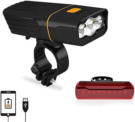 Luz Bicicleta Recargable USB Luces LED Delantera y Trasera para ...