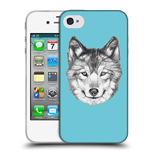 GoGoMobile Coque de Protection TPU Silicone Case pour // Q05430627 Portrait loup Cyan // Apple iPhone 4 4S 4G