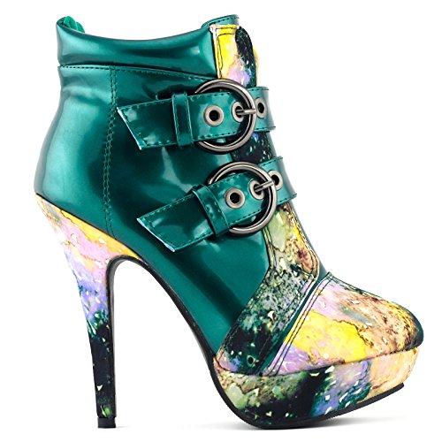 Heel High Show Green Boots LF30301 Sky Buckle Night Story Punk Stiletto Platform Ankle UqxXgaYwx