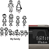 stick figure decals - 12 STICK FIGURE FAMILY your stick figure family Pet Cat Dog Stickers for Car Windows Bumper Phone Notebook Vinyl Decal