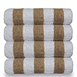 Luxury Hotel & Spa Towel 100% Cotton Pool Beach Towels – Cabana – Tan – Set of 4