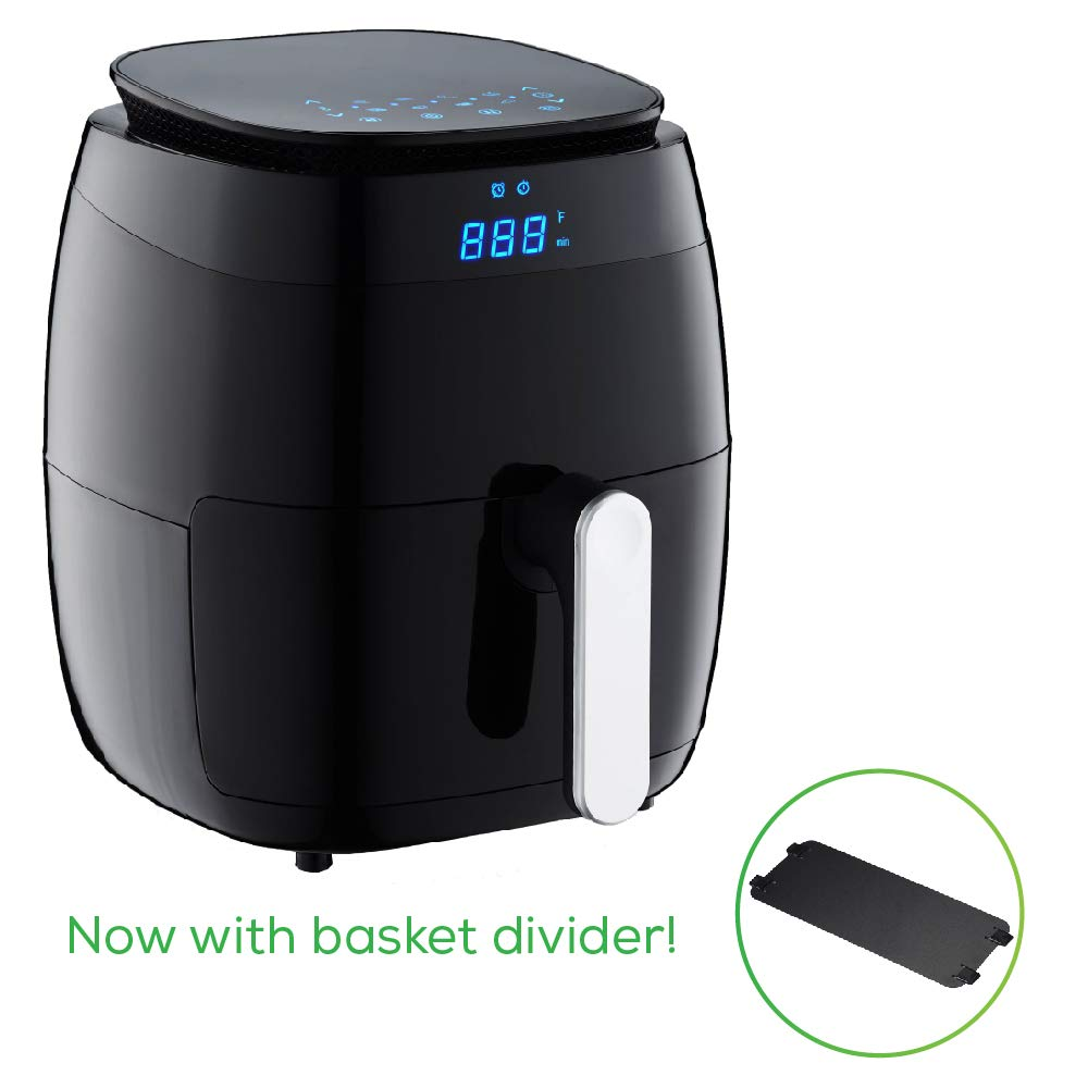 GoWISE USA 5.0-Quart 1500-Watt Digital Air Fryer with 8 Presets, GW22821-S 50 Recipes Black
