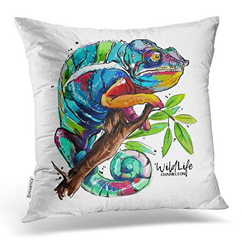 (Emvency Square 20x20 Inches Decorative Pillowcases Lizard Chameleon Round Pillow Cotton Polyester Decor Throw Pillow Cover with Hidden Zipper for Bedroom Sofa )