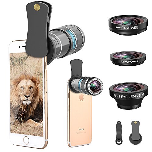 Phone Camera Lens, 4 in 1 12x Telephoto Lens Kit + 0.65x Wide Angle Lens & 15x Macro Lens + 180°Fisheye Lens, Clip-On Cell Phone Lens for iphone x 8 7 plus 6s, Samsung Galaxy Note Smartphones (Iphone 4 Lens Camera)