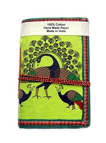 Handmade Paper Diary Lokta Paper eco friendly paper Dancing Peacock Green