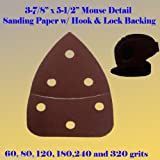 50X Mouse Detail Sander Sandpaper Sanding Paper Hook & Loop Assorted 60 80 120 180 240 320 grits 5.5 (50x 60grits)