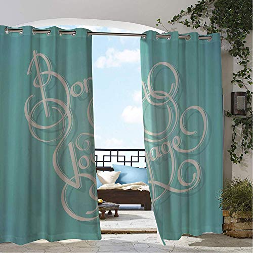 Linhomedecor Outdoor Waterproof Curtain French Script Bon Voyage Calligraphy Holiday Themed Old Fashioned Trip Travel Pattern Pale Blue White Porch Grommet Party Curtain 108 by 108 inch