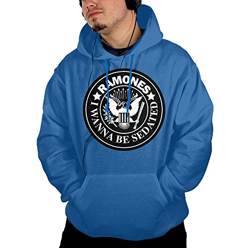 QTHOO Men's Long Sleeve Ramones I Wanna Be Sedated Lightweight Hoodie with -