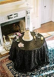 shinybeauty 120cm redondo de lentejuelas mantel paño de tabla de lino tablecloths-black Glitter