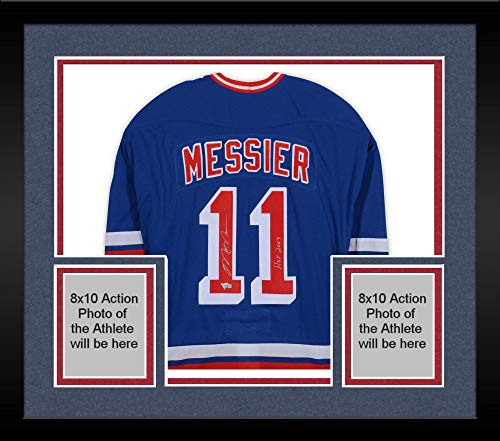 Framed Mark Messier New York Rangers Autographed Blue CCM Heroes of Hockey Authentic Throwback Jersey with