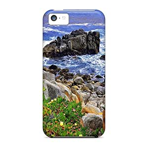Durable Protector Case Cover With Coastal Stones Hot Design For Iphone 5c