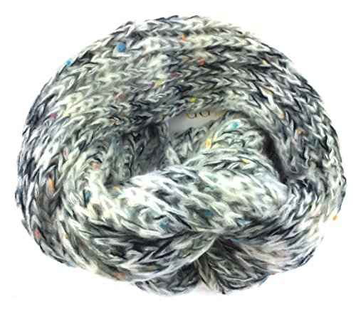 NB24 Loop Schal (414) Winterschal Endlosschal, grob gestrickt, hellgrau dunkelgrau wollweiß mit farbigen Einschlüssen und Silberfaden, Damenschal, Herrenschal