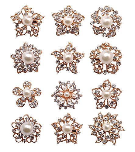 12px Pearl Brooches Mixed Designs Silver or Gold Colors Brooch Pins Wedding Corsage Bride Bouquet Kit (Gold) by ZAKI