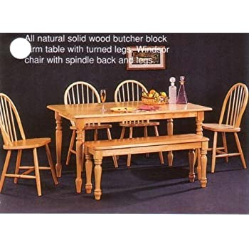 New Butcher Block Farm Dining Table   4 Chairs   Bench. Amazon com   New Butcher Block Farm Dining Table   4 Chairs
