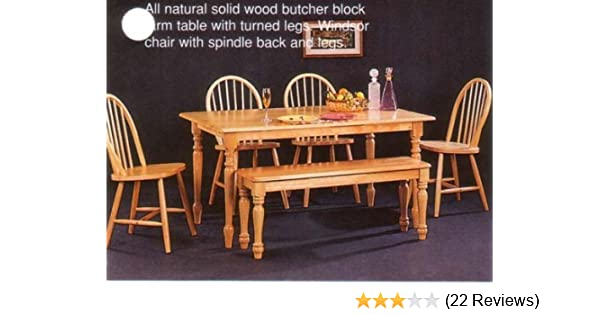 Coaster Home Furnishings New Butcher Block Farm Dining Table & 4 Chairs &  Bench