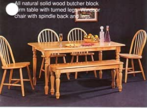 Butcher Block Kitchen Bench : Amazon.com - Coaster Home Furnishings New Butcher Block Farm Dining Table & 4 Chairs & Bench ...