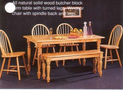 Com New Butcher Block Farm Dining Table 4 Chairs Bench Chair Sets